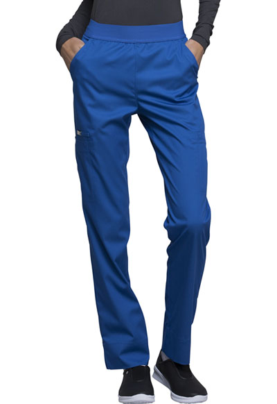 Cherokee Luxe Women's Natural-Rise Tapered Leg Pant Blue