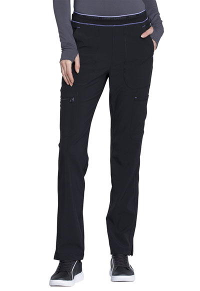 Infinity Women's Mid Rise Tapered Leg Pull-on Pant Black