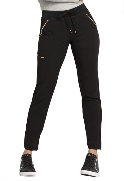 Statement Women Mid Rise Straight Leg Drawstring Pants Black