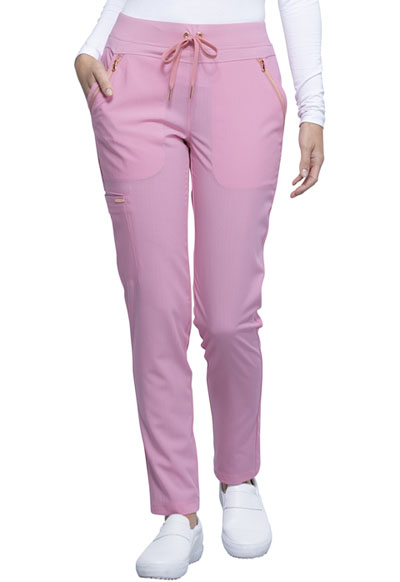 Statement Women Mid Rise Tapered Leg Drawstring Pant Pink