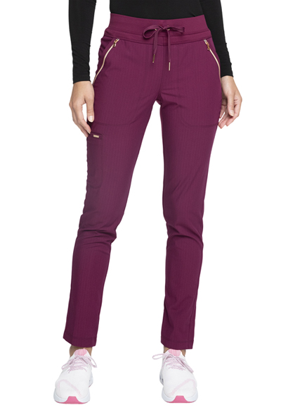 Statement Women Mid Rise Straight Leg Drawstring Pants Red