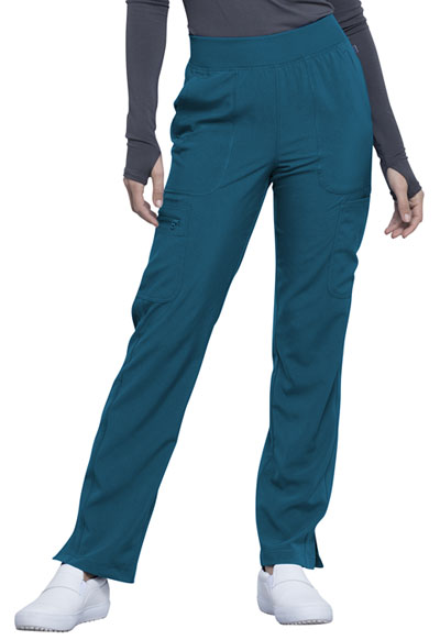Infinity Women Mid Rise Tapered Leg Pull-on Pant Blue