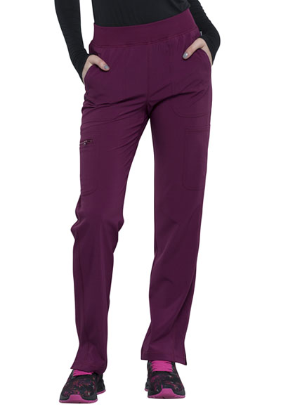 Infinity Women Mid Rise Tapered Leg Pull-on Pant Red