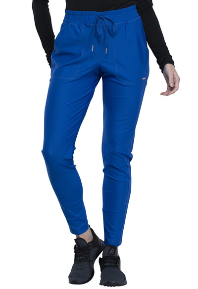 Cherokee Form Women Mid Rise Tapered Leg Drawstring Pant Blue