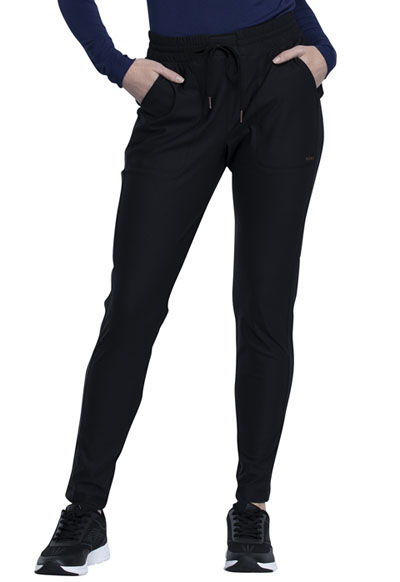 Cherokee Form Women Mid-Rise Tapered Leg Drawstring Pant Black