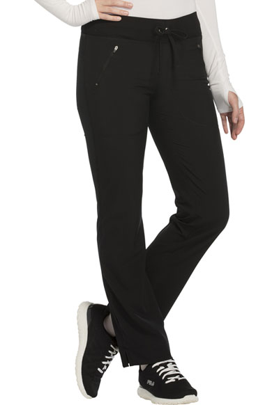 Infinity by Cherokee Women's Mid Rise Tapered Leg Drawstring Pants Black