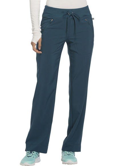 Infinity Women's Mid Rise Tapered Leg Drawstring Pants Blue