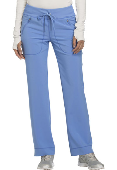 Cherokee Infinity Women's Mid Rise Tapered Leg Drawstring Pants Blue