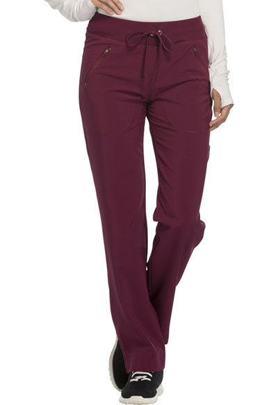 Infinity Women's Mid Rise Tapered Leg Drawstring Pants Red
