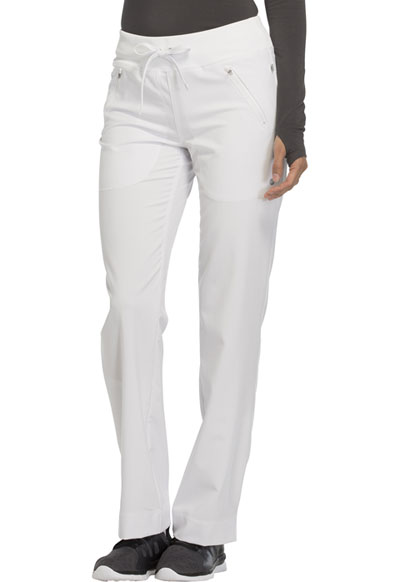 Infinity Women's Mid Rise Tapered Leg Drawstring Pants White