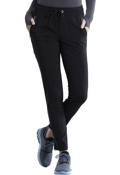 Infinity Women Mid Rise Tapered Leg Drawstring Pant Black