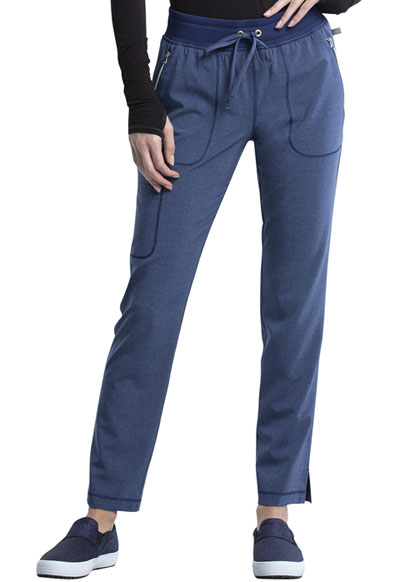 Infinity Women Mid Rise Tapered Leg Drawstring Pant Blue