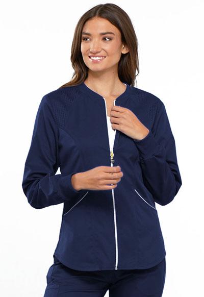 Cherokee Luxe Sport Women's Zip Front Warm-up Jacket Blue