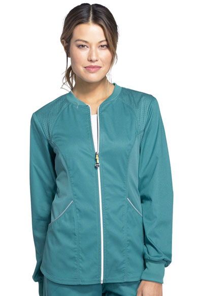 Luxe Sport Women's Zip Front Warm-up Jacket Green
