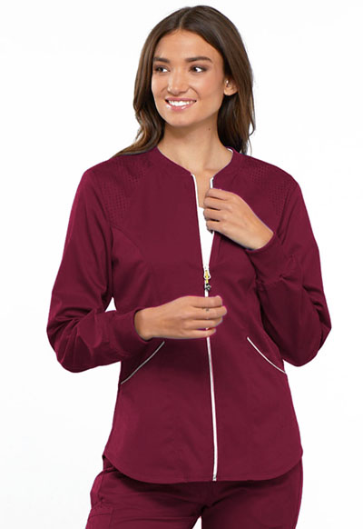 Cherokee Luxe Women's Zip Front Warm-up Jacket Red
