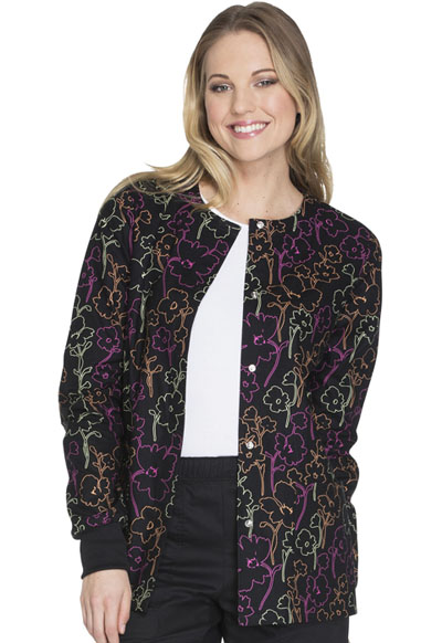 Cherokee Prints Women's Snap Front Warm-up Jacket Floral In The Dark