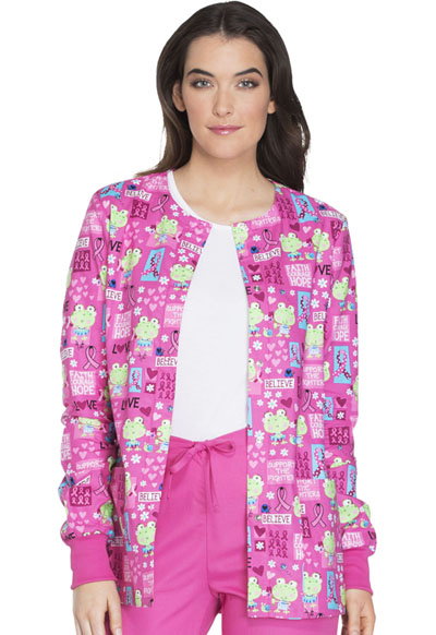 Cherokee Prints Women's Snap Front Warm-up Jacket Toad-ally Courageous