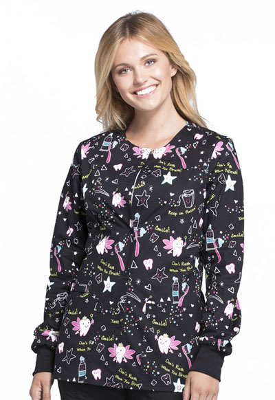 Cherokee Prints Women's Snap Front Warm-up Jacket Tooth Fairy Magic