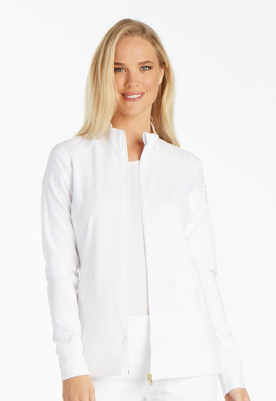 iFlex by Cherokee Women's Zip Front Warm-Up Jacket White