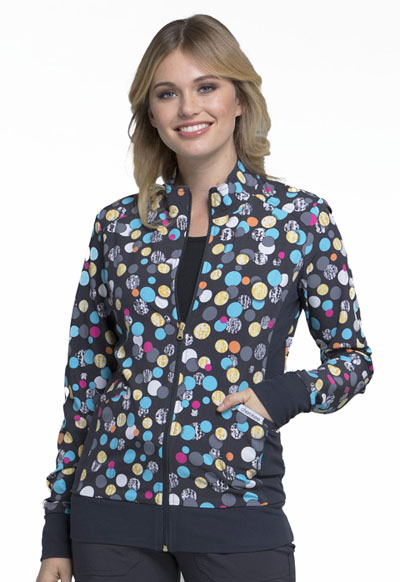 Flexibles Women's Zip Front Knit Panel Jacket Polka Dot Game