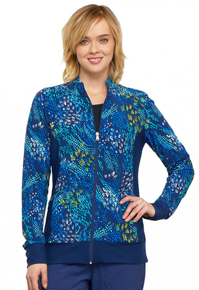 Flexibles Women's Zip Front Knit Panel Jacket Wild Confetti