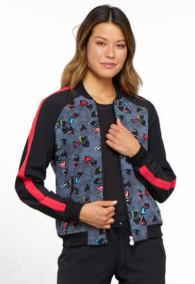 Cherokee Infinity Women's Zip Front Jacket Marked Hearts