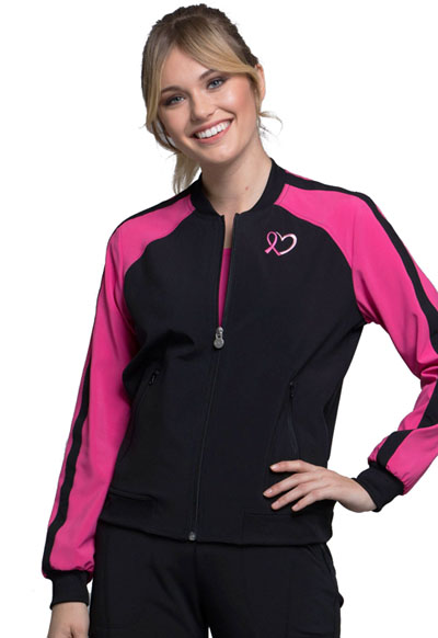 Infinity Women Zip Front Colorblock Bomber Jacket Black