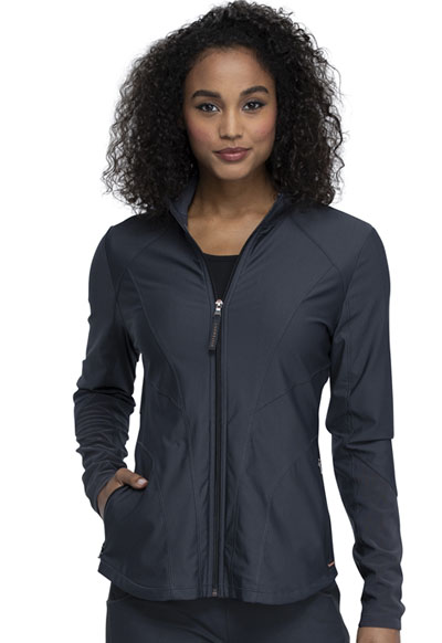 Cherokee Form Women Zip Front Jacket Gray
