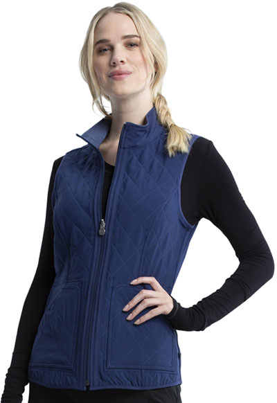 Infinity Women Reversible Quilted Vest Blue