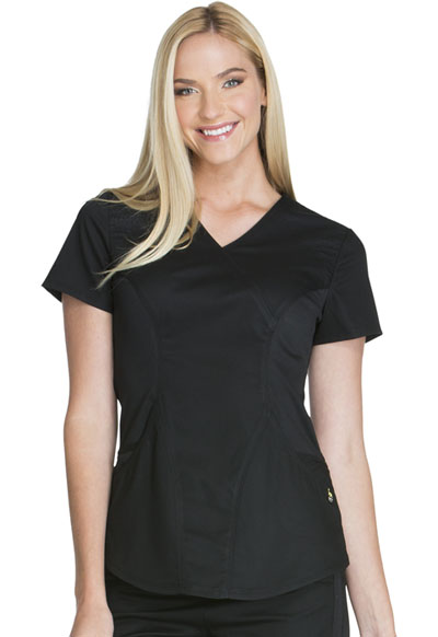 Luxe Sport Women's Mock Wrap Top Black