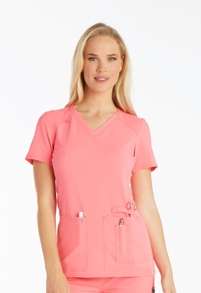 iFlex Women's V-Neck Knit Panel Top Pink