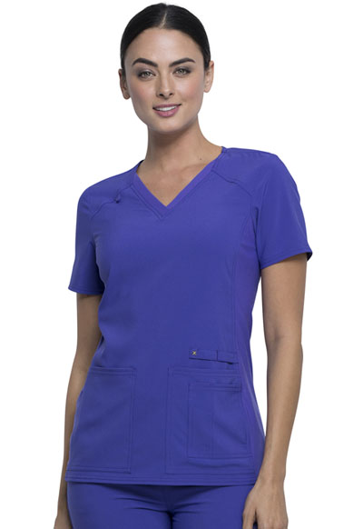 iFlex Women's V-Neck Knit Panel Top Purple