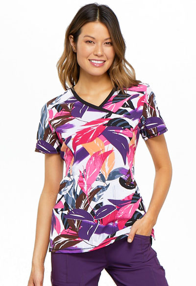 Infinity Women's Mock Wrap Top Leafy Layers