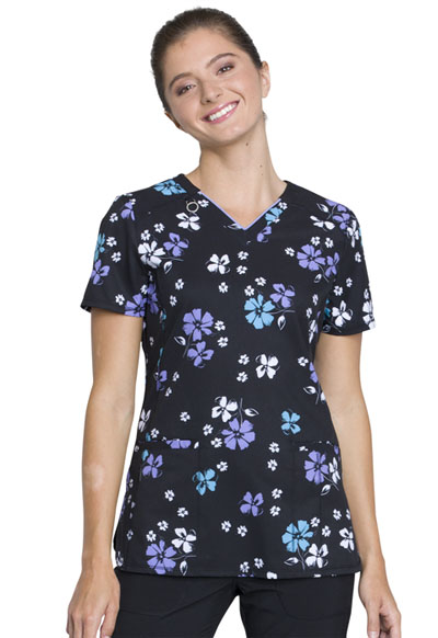 Infinity Women's V-Neck Top Bold Blossoms