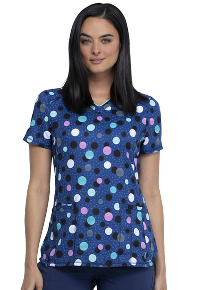 Infinity Women's V-Neck Top Poppin' Polka Dots Navy