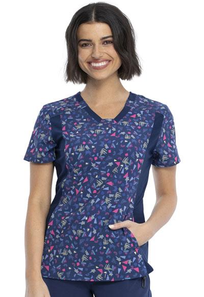 Cherokee Women/'s Short Sleeve Contemporary Fit V-Neck Knit Panel Top CK641