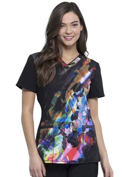 Infinity Women's V-Neck Top Floral Spectrum