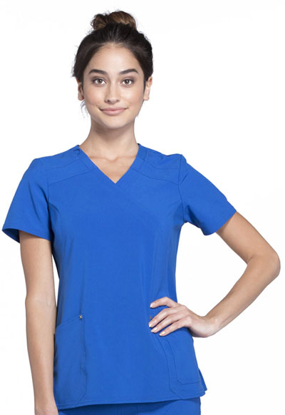 iFlex Women's Mock Wrap Knit Panel Top Blue