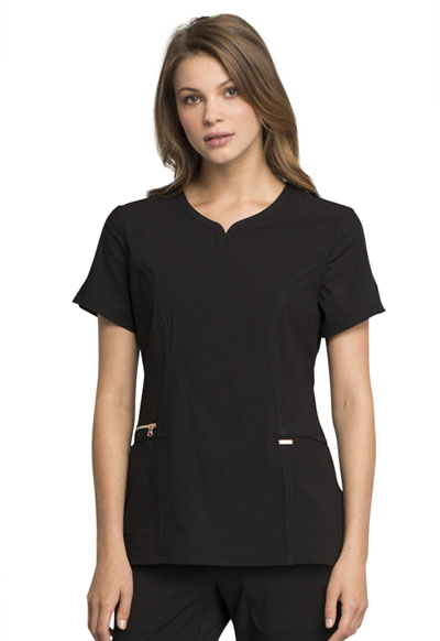 Statement Women's Ribbed V-Neck Top Black
