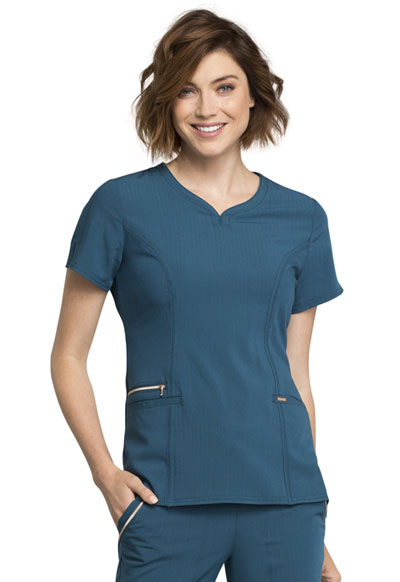 Statement Women's Ribbed V-Neck Top Blue