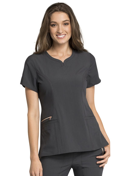Statement Women's Ribbed V-Neck Top Gray