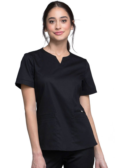 Luxe Women's Notch V-Neck Top Black