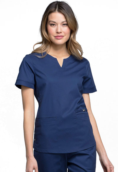 Luxe Women Notch V-Neck Top Blue