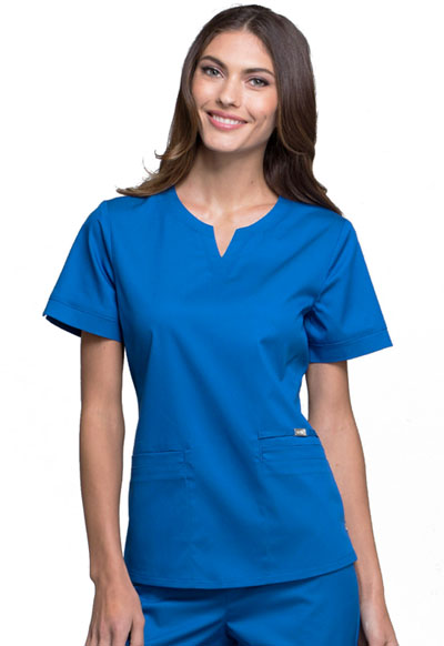 Cherokee Luxe Women's Notch V-Neck Top Blue