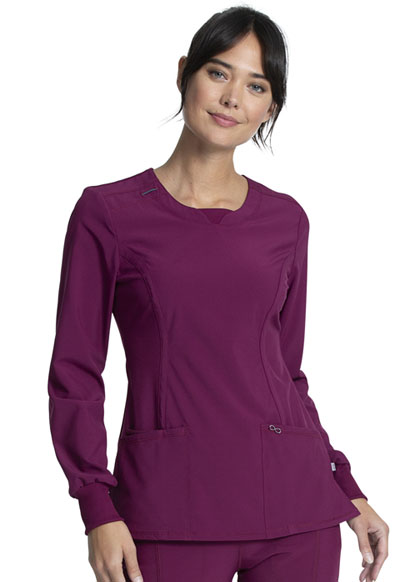 Infinity Women Long Sleeve V-Neck Top Red