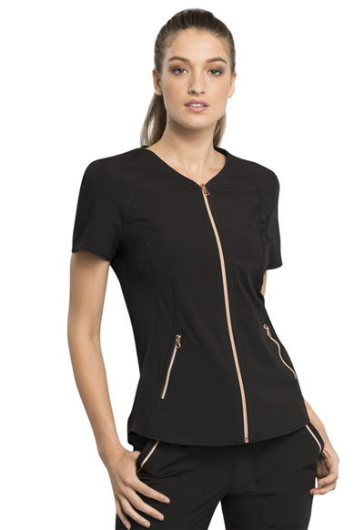 Statement Women's V-Neck Zip Front Top Black