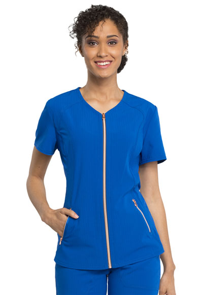 Statement Women's V-Neck Zip Front Top Blue