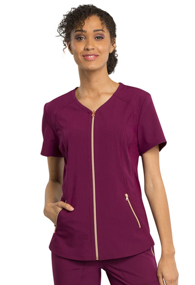 Statement Women's V-Neck Zip Front Top Red