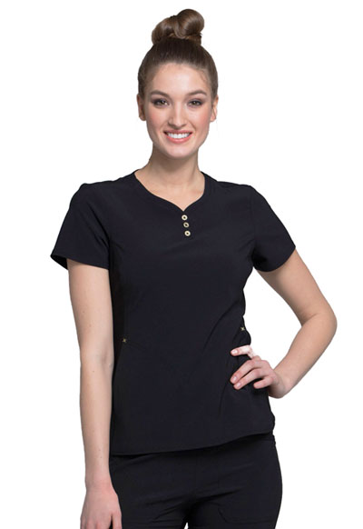 iFlex Women's V-Neck Button Placket Top Black