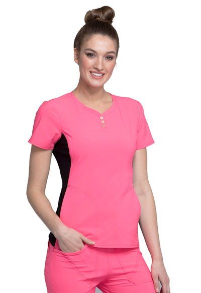 iFlex Women's V-Neck Button Placket Top Pink